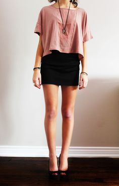 Loose knit with black pencil skirt.
