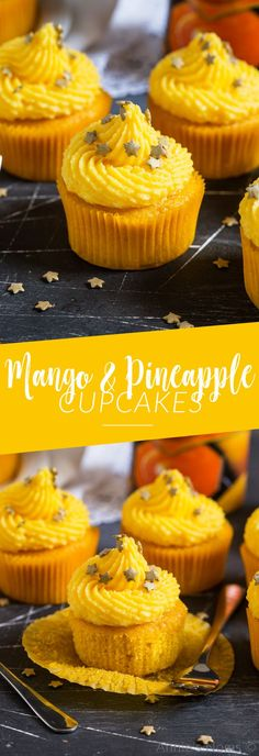 These soft Mango Cupcakes are filled with crushed pineapple and topped with a light and fluffy mango frosting. A delicious tropical cupcake perfect for the warmer weather! #recipe #dessert #cupcake #mango #pineapple