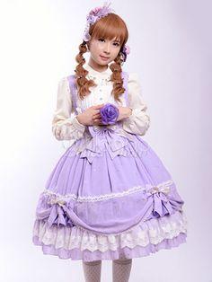 Lavender Bows Chiffon Lolita Tunic for Women - Milanoo.com