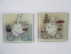 Coasters 2 Vintage Humorous Cook Bicycle Delivery by HobbitHouse