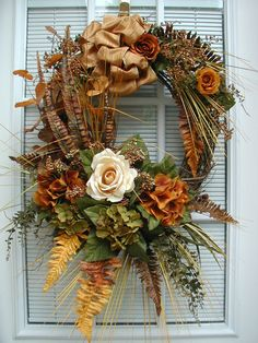 RESERVED LISTING 4 DIVAP Fall Tuscan Pheasant Feathers Cream Rose Bronze Copper Grassy Sprays Floral Decor Door Wreath
