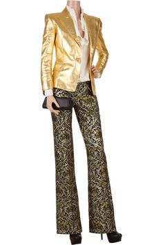 BALMAIN  Metallic brocade pants