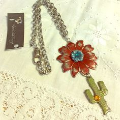 West Coast Cowgirl Cactus Flower Necklace Nwt