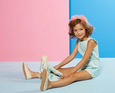 Sweet print playsuit and matching soft doll at Marie-Chantal spring 2015 kidswear