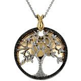 Tracey Bregman Black & White Diamond Tree of Life Sterling Silver Pendant with Chain