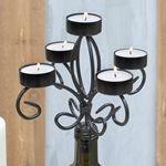 Bottle Candelabra Tea Light Candle Holder, Metal, 6.75 in tall, Black