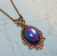 Art Deco Necklace Pendant Purple Violet Teal by dfoxjewelrydesigns