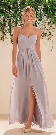 Flowing Chiffon Sweetheart Neckline A-Line Bridesmaid Dresses With Beads