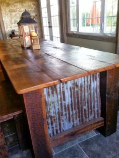 Barn wood and metal table