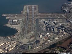Great aerial view of San Francisco (SFO) Airport.