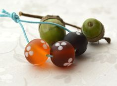 Handmade Lampwork Glass Beads  'Amber by TemptingLittleCharms, £4.50