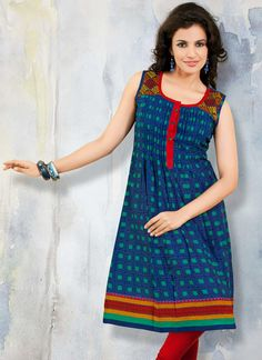 Lively Blue Cotton Kalidar kurti