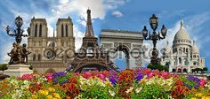 En güzel dekorasyon paylaşımları için Kadinika.com #kadinika #dekorasyon #decoration #woman #women Travel background. Symbols of Paris: Eiffel Tower Cathedral of Notre Dame de Paris Sacre Coeur Basilica Arc de Triomphe Street lamps of Alexandre III bridge