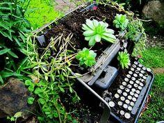 Ciekawy pomysł na zagospodarowanie maszyny do pisania.  Projektowanie i pielęgnacja ogrodów: www.transgaj.pl  recycled garden art...