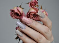 nailbamboo: pastels with glitter top