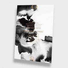 Black & White Watercolor Wedding Invitation / Nynne Rosenvigne Watercolor / Gold Foil Stamp / Modern / Minimal / Customizable / Design Your Own / #myownblissandbone