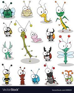 Cartoon insects vector image on VectorStock Art Drawings For Kids, Cartoon Drawings, Cute Drawings, Logos Retro, Best Graffiti, Cartoon Clip, Happy Paintings, Mail Art, Rock Art