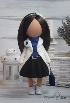 Hand made Decor doll brunette white blue Soft by AnnKirillartPlace