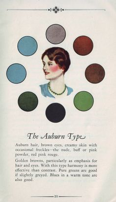 Colour palette suggestions for The Auburn Type. #vintage #makeup #fashion #hair