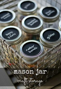 DIY:  Organize small items from your home/office with these Mason jars. Unique because they have chalkboard lids to label the contents. Also a  DIY tutorial on aging shiny metal baskets.
