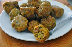 Baked meatballs with lean ground pork, chicken or turkey.  For the pecans, leave out or sub a few walnuts or almonds.