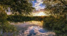 Rosja, Stupino, Park, Jezioro, Las, Drzewa, Zachód słońca