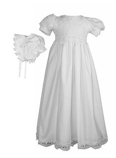994a8d0e1 Amazon.com: White Daisy Embroidered Cotton Christening Baptism Gown:  Clothing. Baby Girl Christening ...