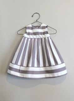 Baby Dress Vintage Style, Newborn Baby Clothes, Infant Baby Girl dress, Gray and Cream Stripes Choose size or months old, made of cotton fabric. Fabric has 1 light gray and cream stripes. Includes 2 snap closures on the Little Dresses, Little Girl Dresses, Cute Dresses, Girls Dresses, Flower Girl Dresses, Baby Dresses, Dress Girl, Baby Girl Fashion, Kids Fashion