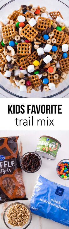 Favorite kids trail mix recipe -super easy to make and perfect for on the go snacks! It is sure to be a big hit!