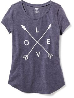 Rounded-Hem Graphic Tee for Girls