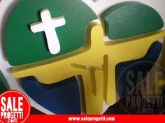 Logo in polistirolo per giornata eucaristica.  www.saleprogetti.com
