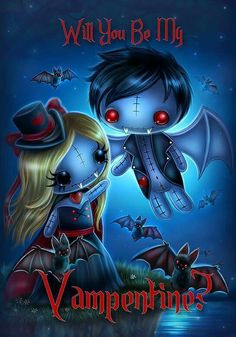 Frightlings: Will You Be My Valentine? Viktor and Viktoria Vampling. Voodoo Doll Tattoo, Voodoo Dolls, Gothic Fantasy Art, Gothic Fairy, Emo Art, Goth Art, Arte Horror, Horror Art, Dark Pictures