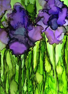 Alcohol ink iris on Yupo. Iris in field original artwork. Iris im Feld Alcohol Ink Glass, Alcohol Ink Crafts, Alcohol Ink Painting, Art Journal Techniques, Encaustic Art, Watercolor And Ink, Painting Inspiration, Creative Art, Flower Art