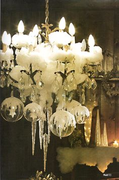 .candelabra ... clear crystal ornaments... icecicles... melted candles