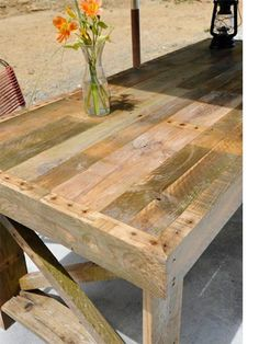 Using reclaimed timber for projects is probably the hottest recycling project on the planet, and there seems to be no end to the ideas popping up for projects that use reclaimed timber. While there are quite a few tables made from timber pallets, this is one of the best I have seen to date. http://www.home-dzine.co.za/diy/diy-pallet-garden-table.htm