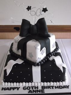 60th Birthday cake except do red ribbon instead of white