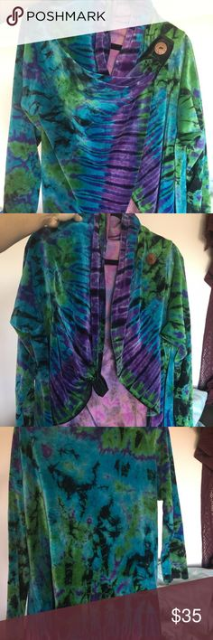 """High low wrap velvet sweater/jacket Dark hand dyed tie-dye high low velvet jacket sweater. Handmade in Nepal Avatar brand size tag says extra-large(more like medium) sizing is off this is a sample piece. Worn once for photo shoot never worn again. Brand new I have 5""""7 36A chest  I normally wear medium/small avatar Jackets & Coats"""