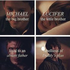 They've been characterizes as Michael and Lucifer from day This show is so well written Winchester Boys, Winchester Brothers, Virginia Woolf, Michael And Lucifer, Supernatural Quotes, Angels And Demons, Super Natural, Castiel, Jensen Ackles