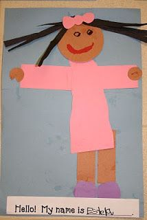 Estela what a cute name. beginning of school art activity All About Me Crafts, All About Me Preschool, All About Me Activities, Art Activities, Educational Activities, Outdoor Activities, Kindergarten Crafts, Classroom Fun, Preschool Classroom