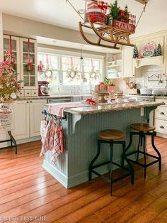 Favorite Beautiful Christmas Decorating Ideas Love this festive Christmas kitchen complete with sleigh holding gifts Farmhouse Christmas Decor, Christmas Home, Christmas Holidays, Christmas Decorations, Christmas Goodies, Country Christmas, Christmas Kitchen Decorations, Cottage Christmas Decorating, Christmas Decir