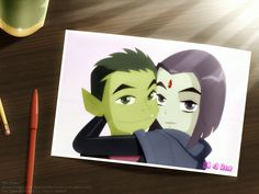 "Teen Titans - ""She Smiled"" - Beast Boy, Raven by ~SparkyX on deviantART"