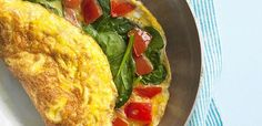Spinach and tomato omelette... breakfast, lunch or dinner!