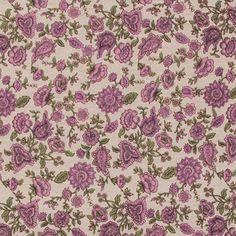 "A muted vintage style botanica pink floral on a light beige background cotton jersey knit. Fabric has a small stretch, light weight. Largest flowers measure 1 1/4"". :: $6.00"