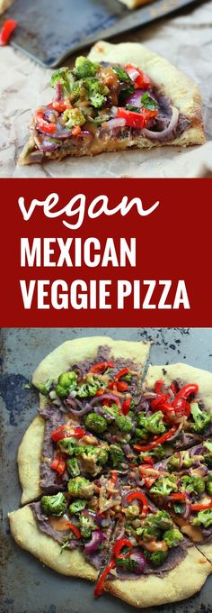 Creamy black beans and roasted veggies are spread on pizza crust with vegan tahini nacho cheese to make this spicy and delicious vegan Mexican pizza.
