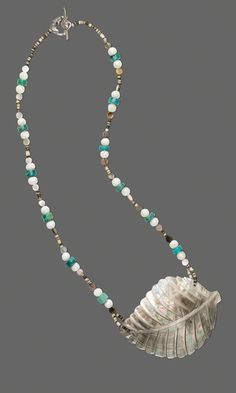 Single-Strand Necklace with Black-Lip Shell Beads, Turquoise Gemstone Beads and Sterling Silver Beads - Fire Mountain Gems and Beads
