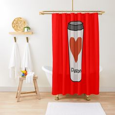 """Love Coffee With A Passion -White Travel Mug Coffee Design"" Shower Curtain by Pultzar 
