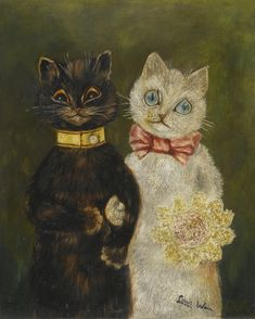 Cats in Art-- Louis Wain: The Bride and Groom.