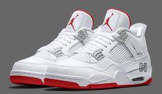 Air jordans - Air Jordan 4 White University Red Metallic Silver Release Date SBD – Air jordans Jordan Shoes Girls, Air Jordan Shoes, Air Jordan Retro, Girls Shoes, Ladies Shoes, Jordan Outfits, Jordan Sneakers, Jordan 4, Cute Sneakers