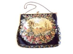 Walborg Tapestry Handbag Petite Point Purse by TheBirdcageVintage, $29.99 #vintage #etsy Tapestry Bag, Designer Clutch, Vintage Clutch, Clutch Purse, Bag Making, Compact, 1950s, Take That, Handbags