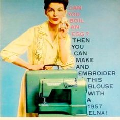 The vintage Elna sewing machine advertised its ease of use.